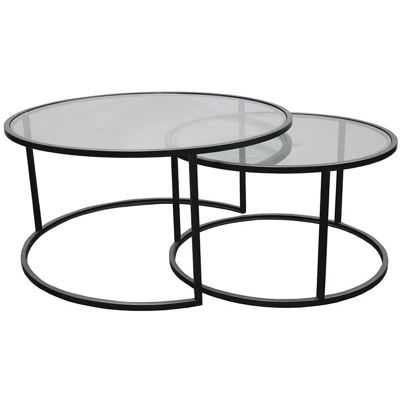eldan nest of 2 round glass coffee tables