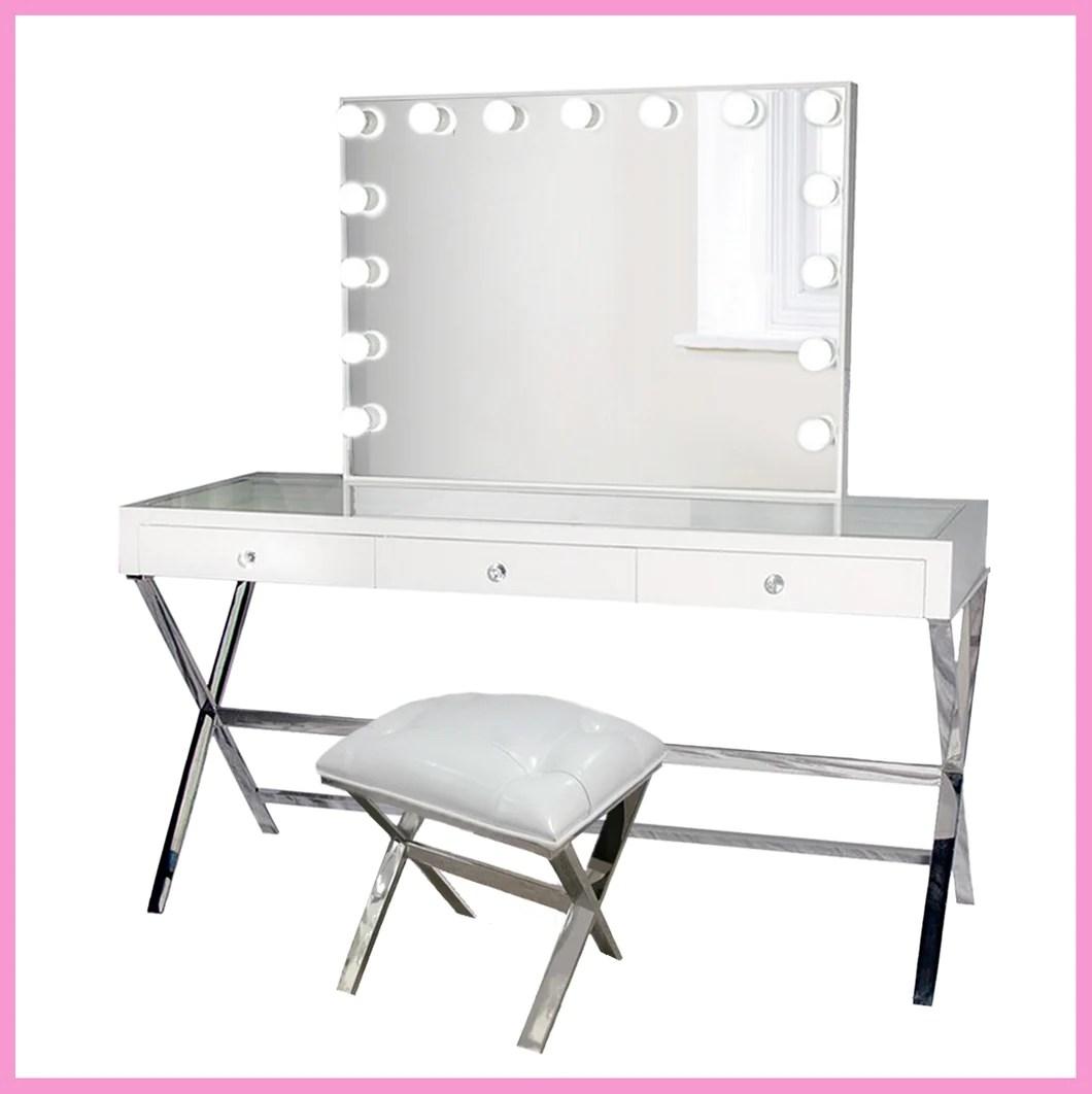 glamorous white makeup vanity set w