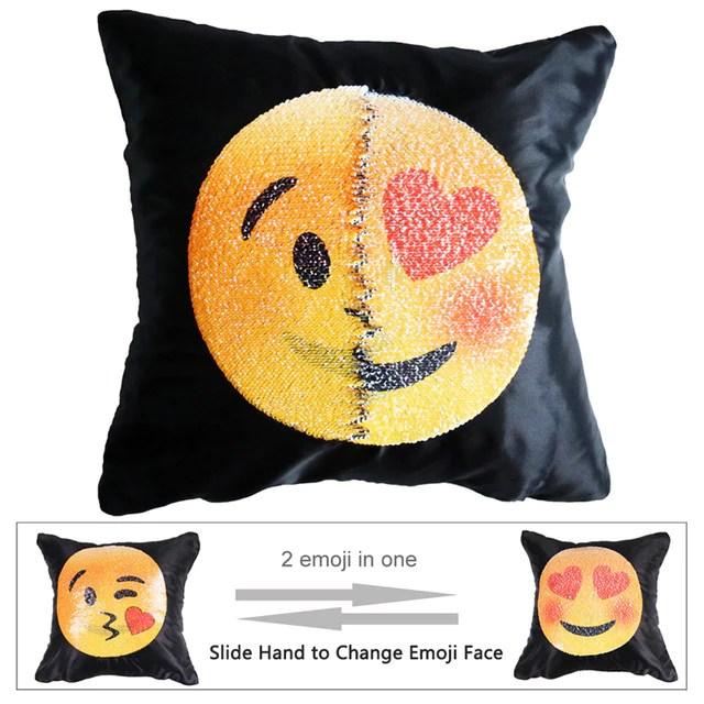 emoji sequin pillow case changing