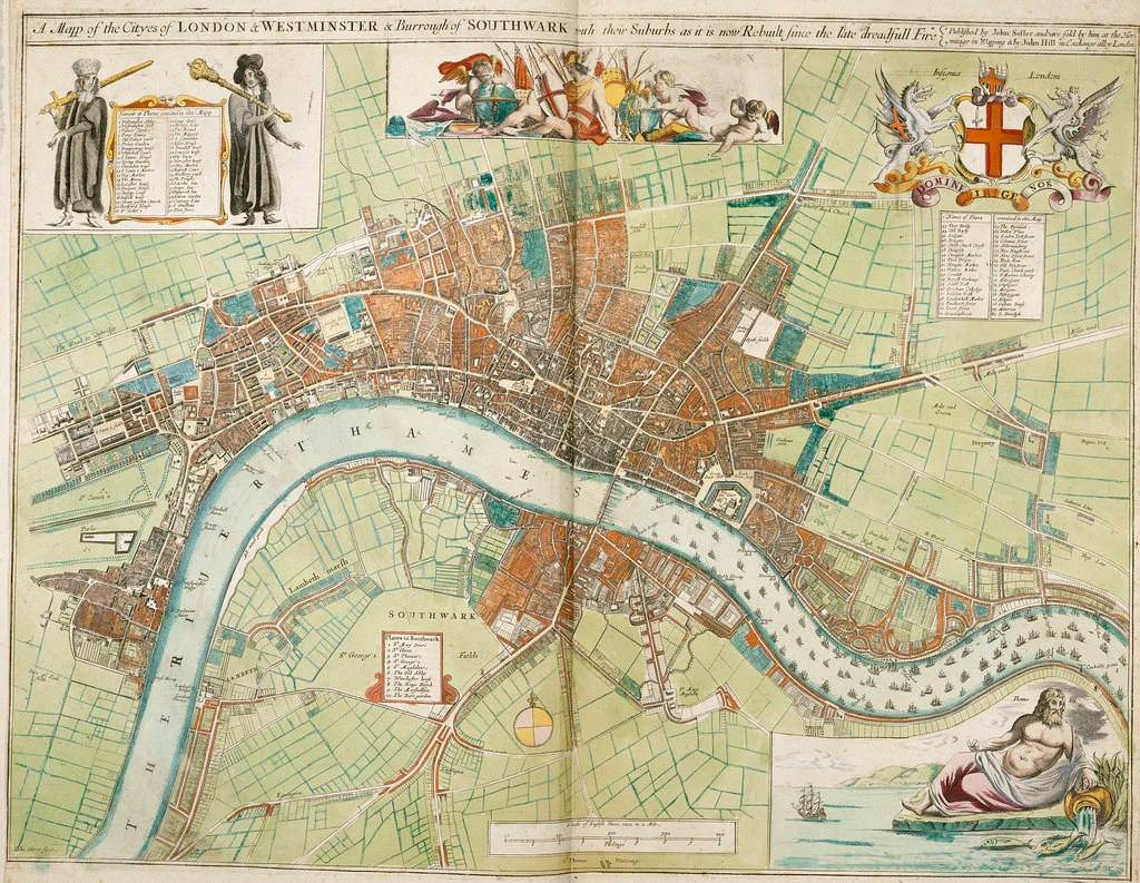 London and Westminster rebuilt after the Great Fire of London map     Detail of London and Westminster rebuilt after the Great Fire of London map  by Anonymous