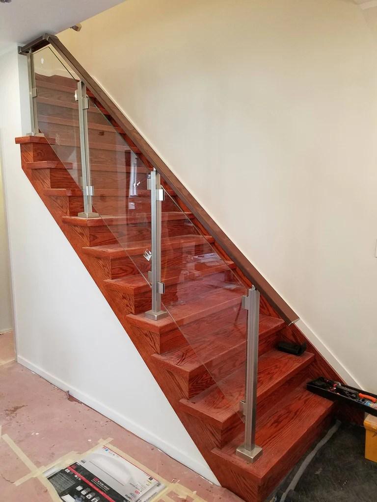 Modern Square Aluminium Balcony Stair Railing Kit Without Glass | Brushed Nickel Stair Railing | Horizontal | Farmhouse | Matte Finish | Light Dark Wood | Hallway