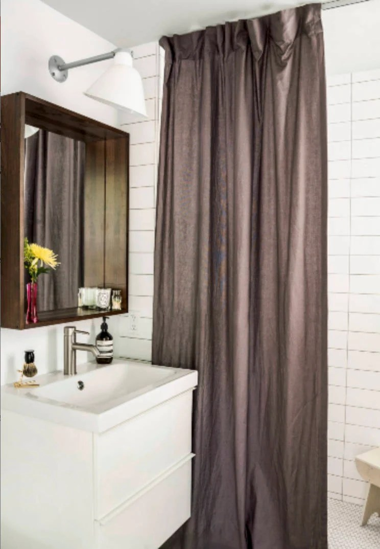 Long Shower Curtain Linen Brown Custom Fabric Shower Curtain Extra Long Farmhouse Shower Curtain Natural Burlap Masculine Shower Modern Grey