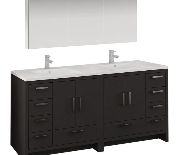 Fresca Imperia 72 Dark Gray Oak Free Standing Double Sink Modern Bathroom Vanity W Medicine Cabinet Fvn9472dgo