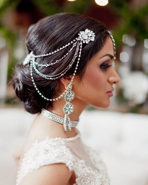 streams of light wedding hair chain