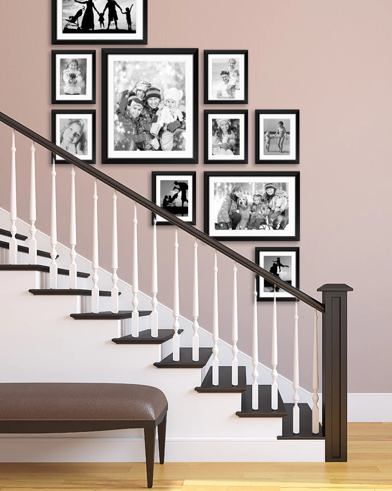 Staircase Wall Art Ideas For Arranging Pictures In Your Stairway | Pop Design For Stairs Wall | Frame Up | Main Entrance | Wall Paper | Entry Wall | Luxury