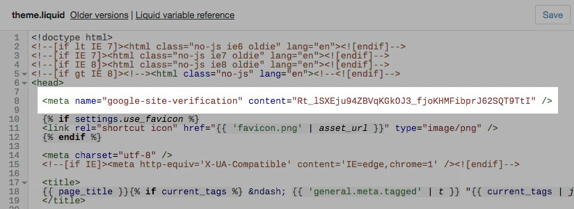 The meta tag pasted below the opening HTML head tag