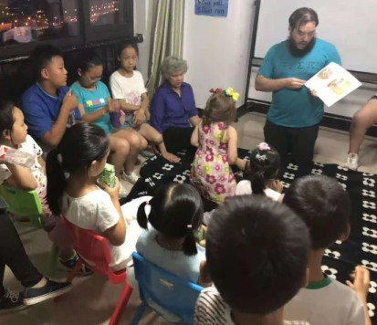Leading an English story time