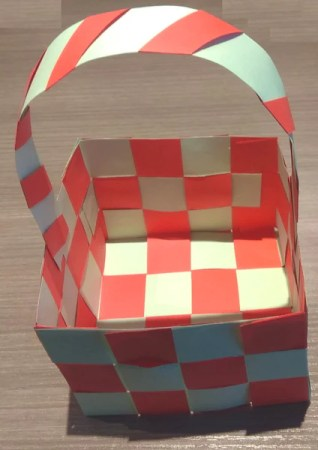 a finished DIY woven paper basket