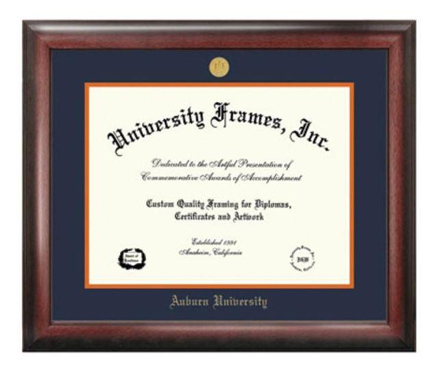 Diploma Frame F Satin Mahogany Frame Gold Medallion