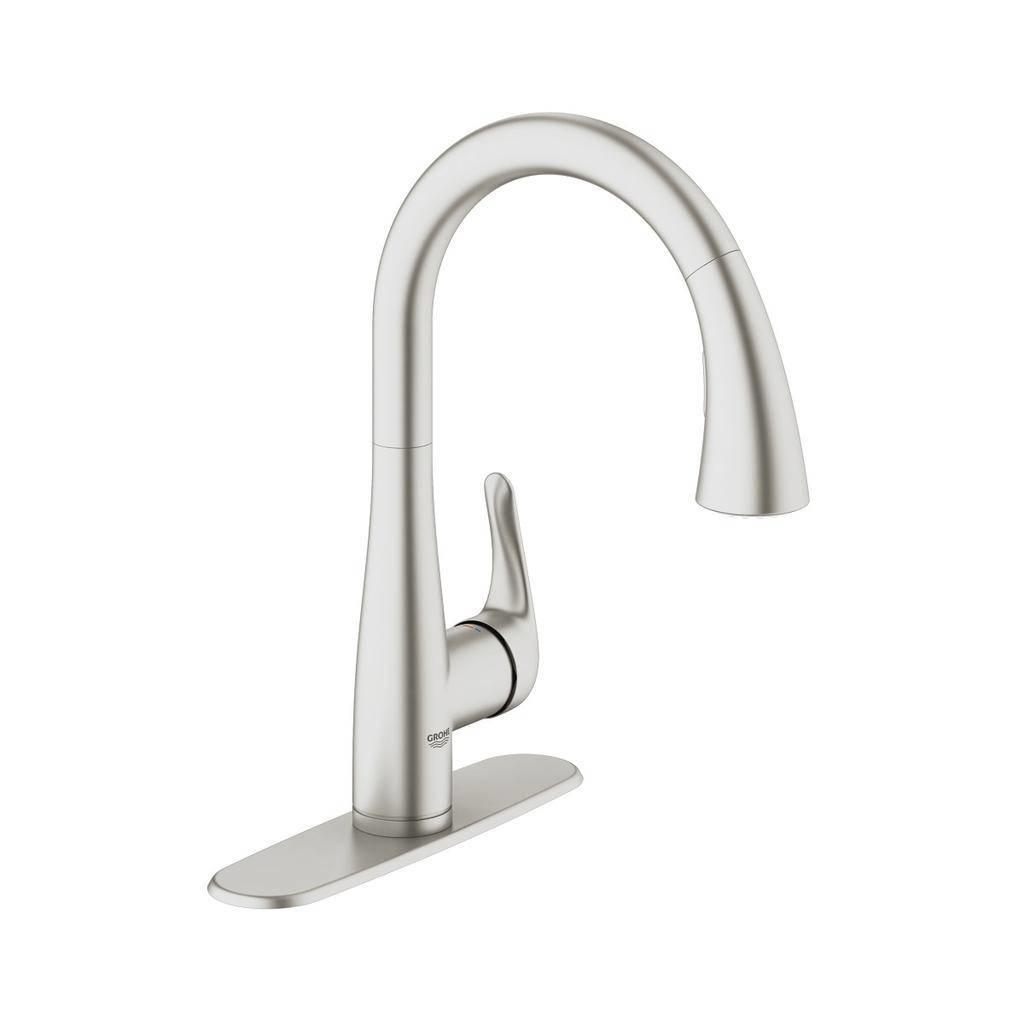 grohe 30211dc1 elberon single handle kitchen faucet super steel