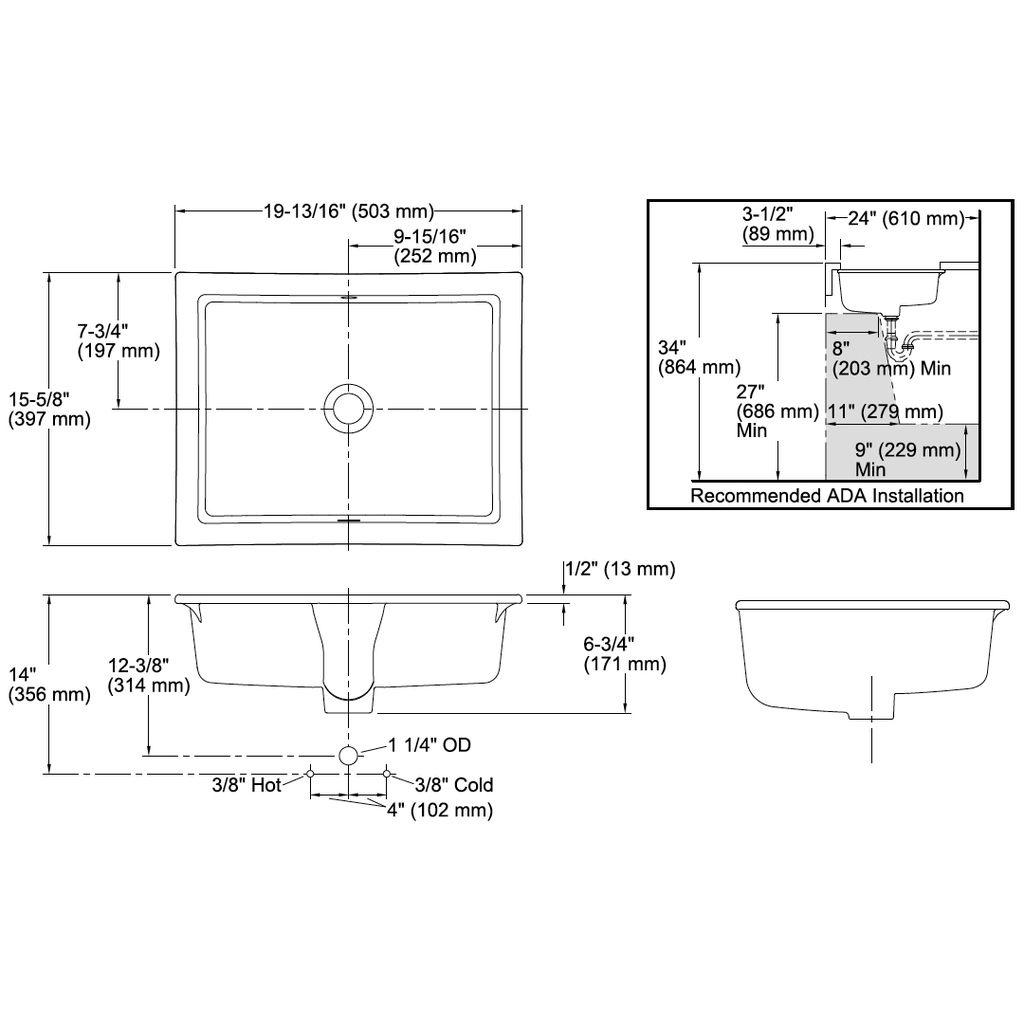 kohler kohler 2882 7 verticyl rectangle under mount bathroom sink