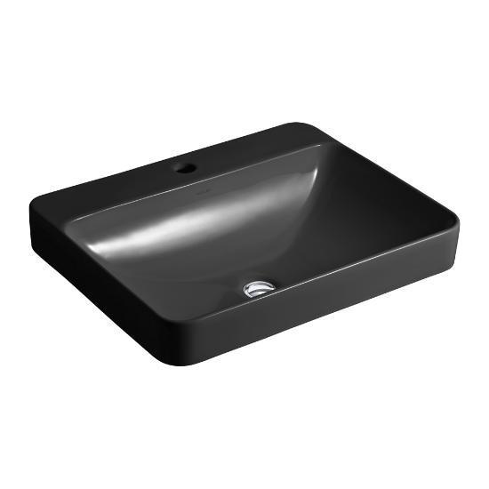 kohler kohler 2660 1 7 vox rectangle vessel bathroom sink with single faucet hole