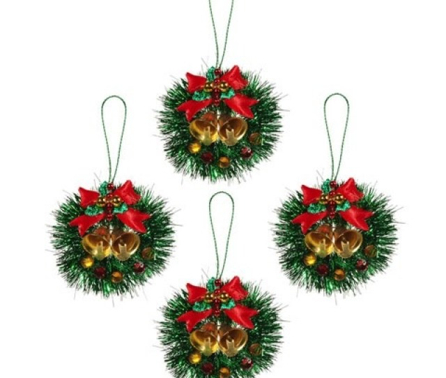 Mini Christmas Wreath Ornaments Tinsel W Bows Bells Pk