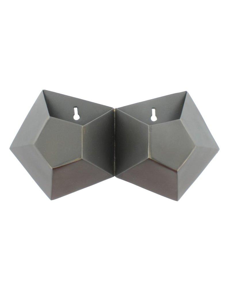 Hexagonal Iron Wall Vase - Double - AREOhome on Iron Wall Vases id=60357