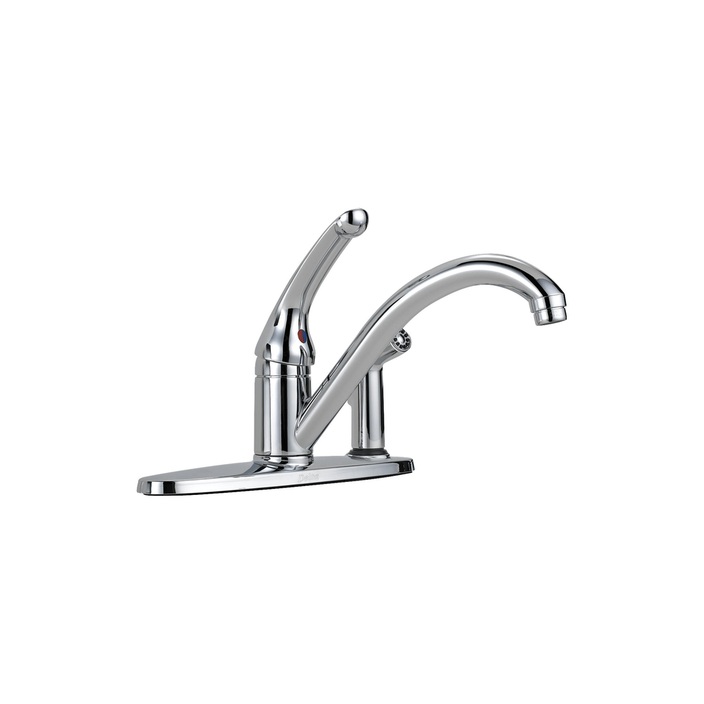 delta 336 classic single handle kitchen faucet with spray chrome