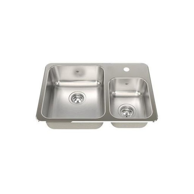 kindred kindred qcma1826 7 26 x 18 double bowl drop in sink 1 hole
