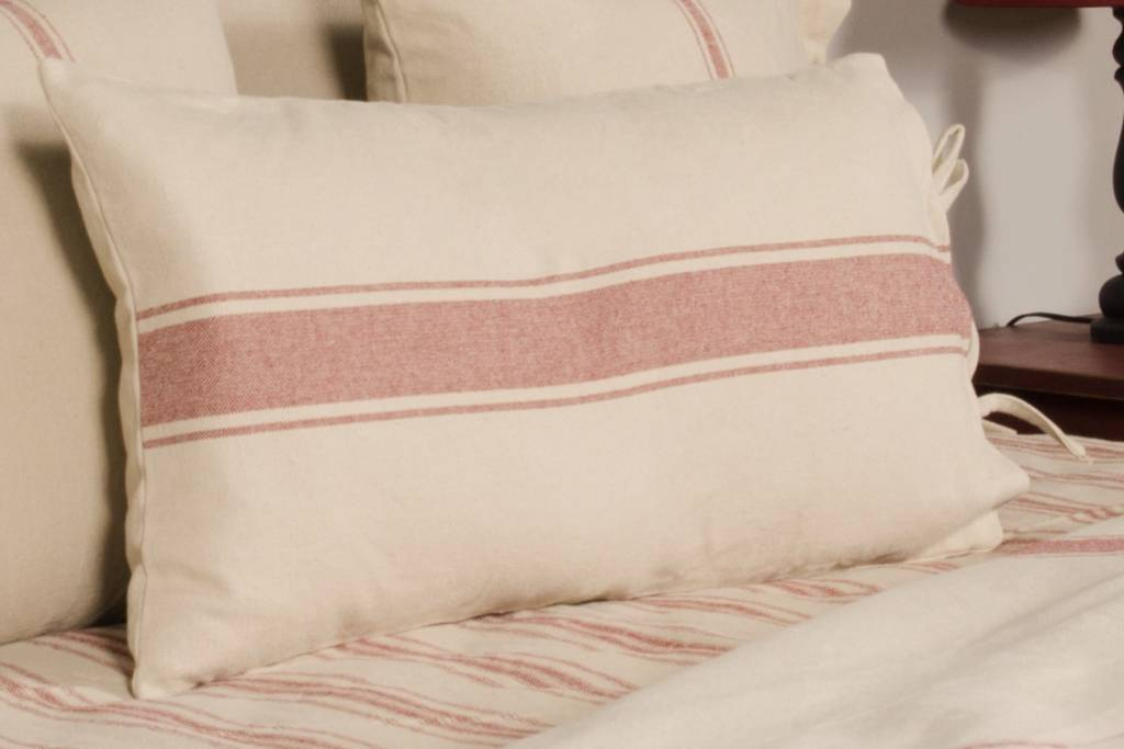 grain sack stripe lumbar pillow cover oat barn red