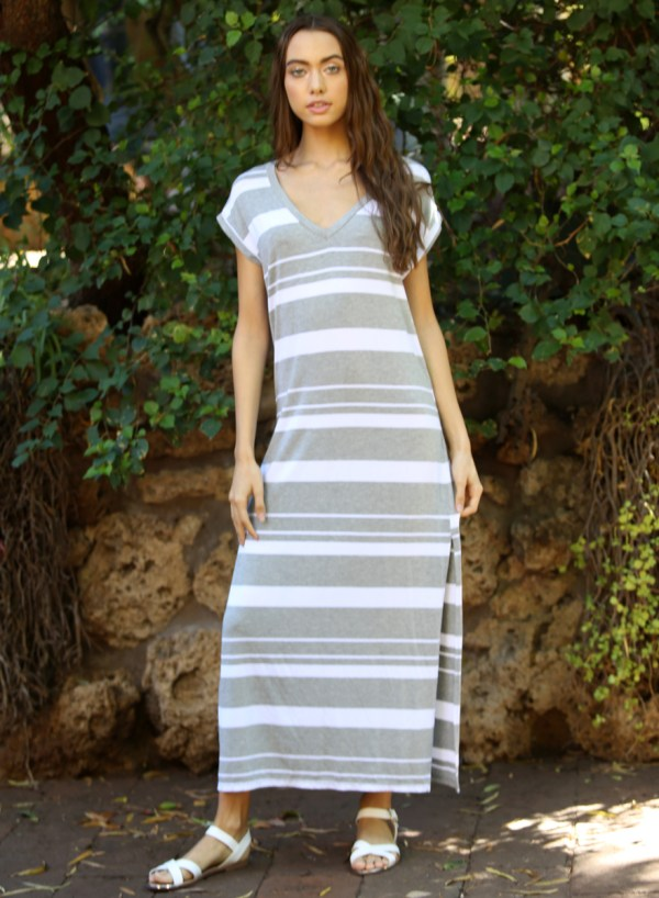 Angie Striped Knit Maxi T Shirt Dress - Creations Boutique