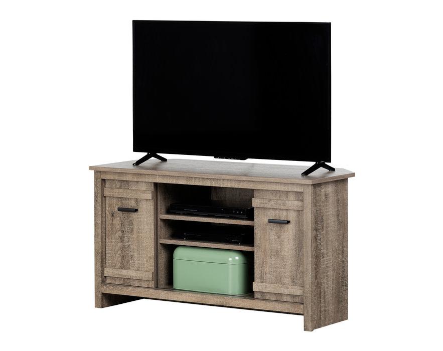 south shore meuble tv en coin pour tv jusqu a 42 chene vieilli collection exhibit
