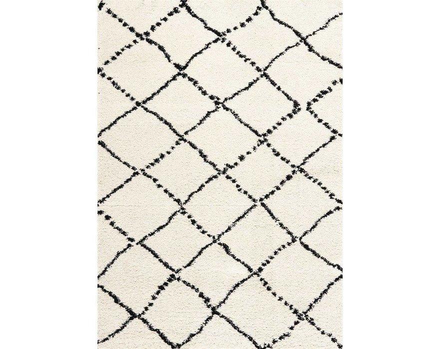 kalora tapis maroq diamants noir blanc doux au toucher 8pi x 10pi