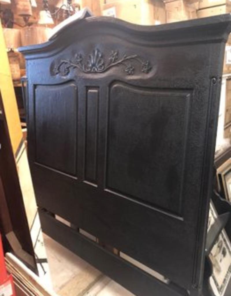 lorts queen wood carved headboard black