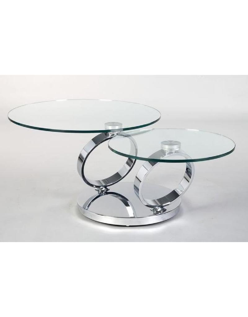 rings swivel coffee table silver