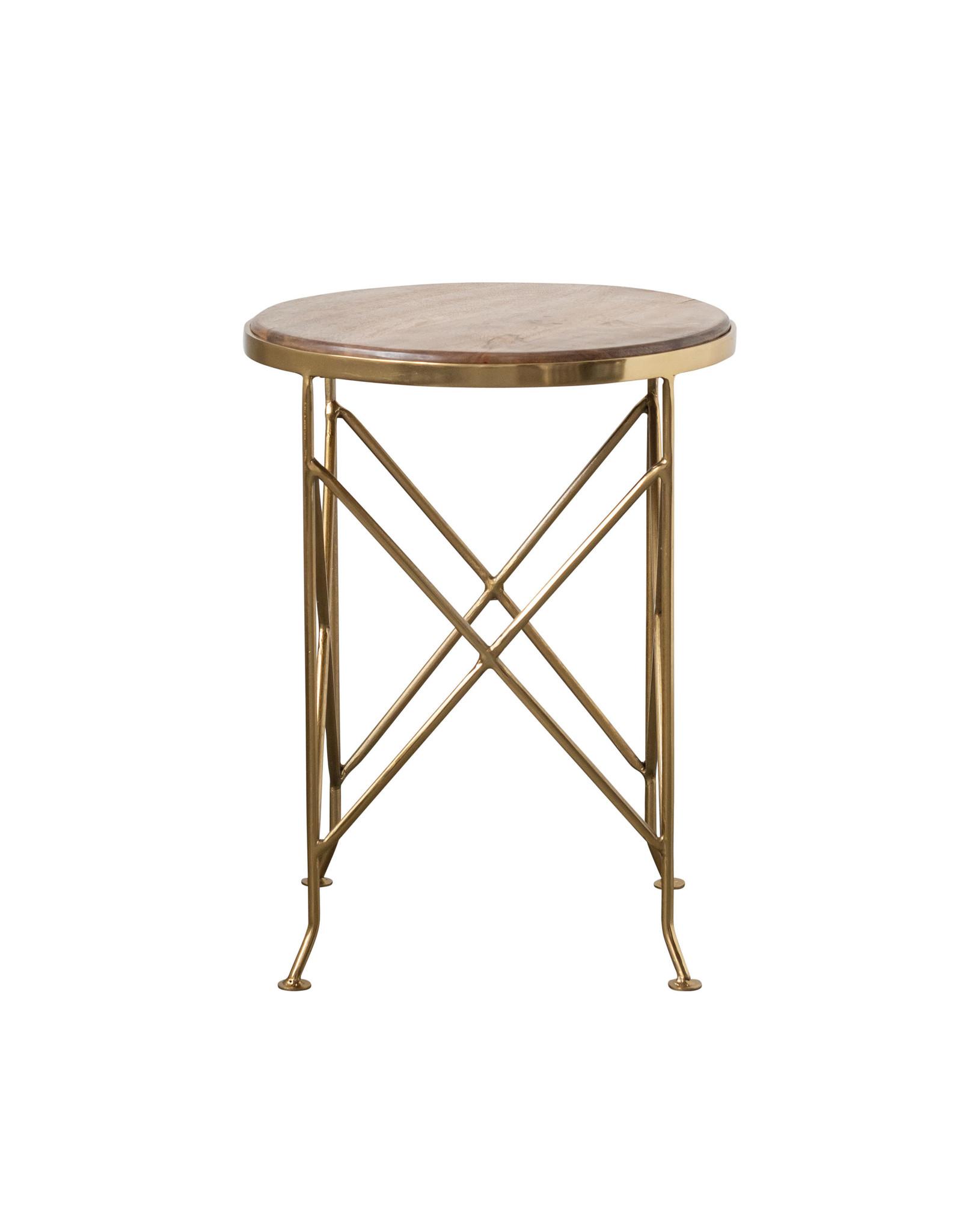Brown Mango Wood Side Table With Gold Metal Legs Vintage 615