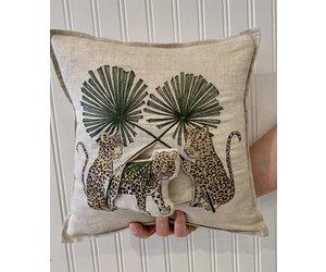 coral tusk jaguar palm pocket pillow 12x12 coral tusk