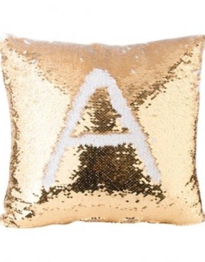 flip sequin pillow cover gold white