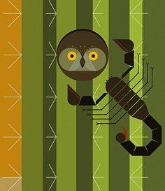 Charley Harper scorpion & a saguaro