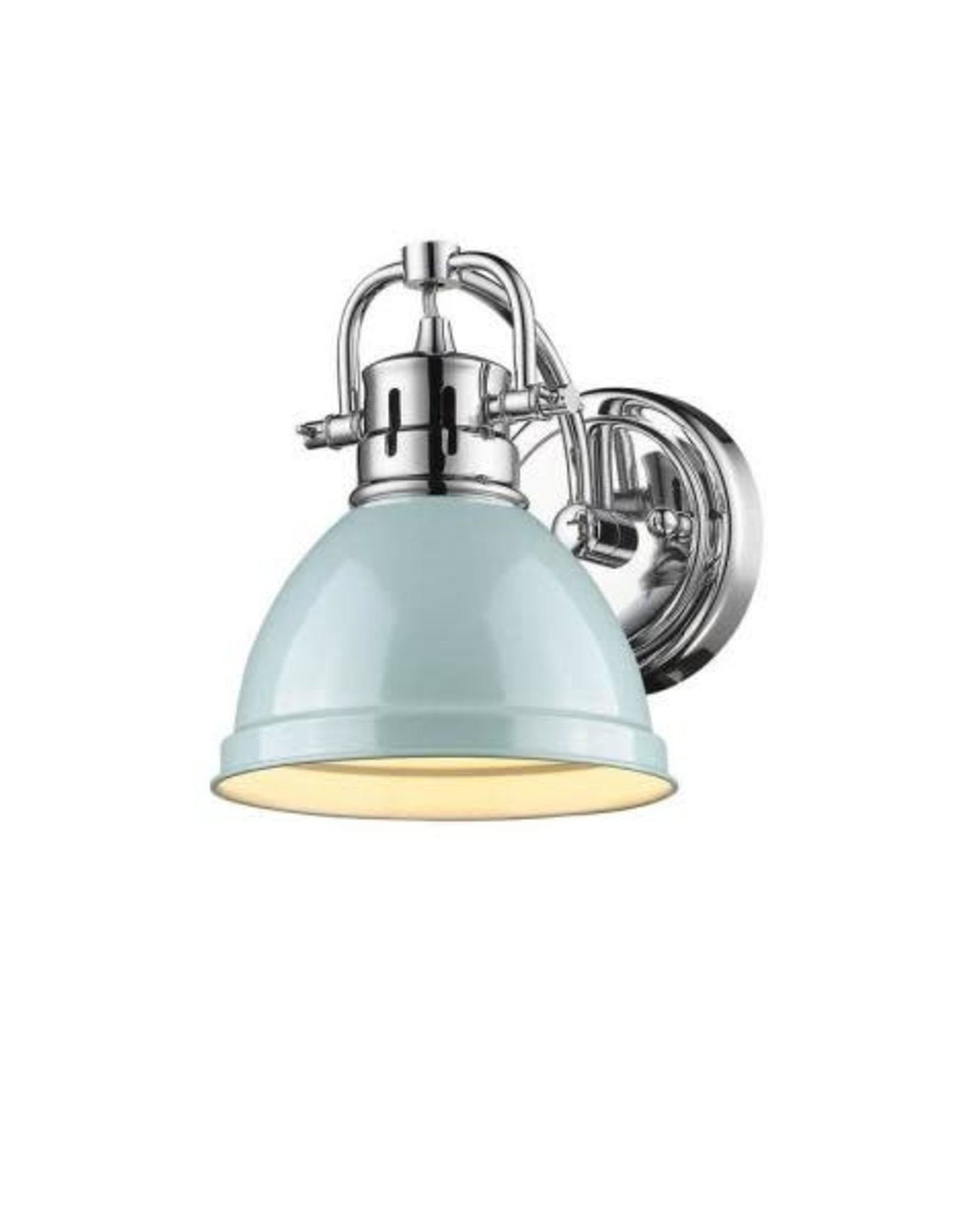 golden lighting duncan chrome 1 light bath light with seafoam shade