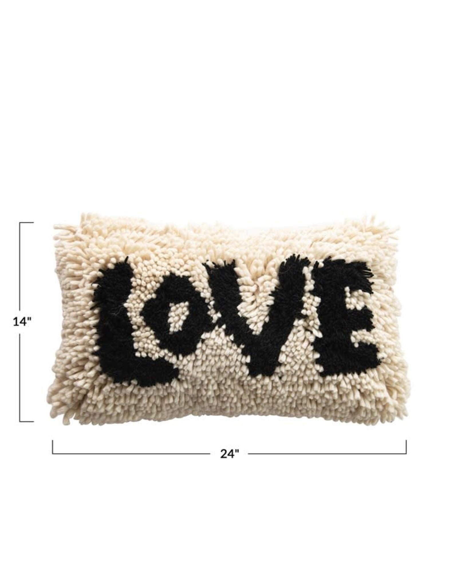 creative co op 24 wool shag lumbar pillow love