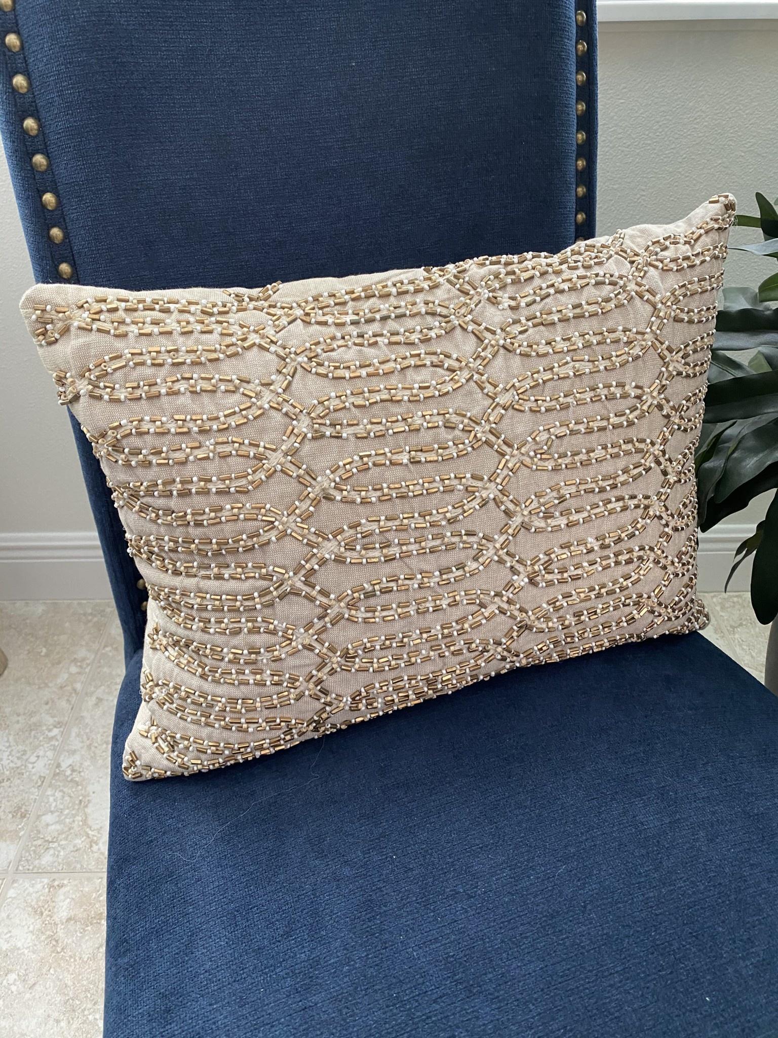 18 x 14 gold beaded linen euro pillow