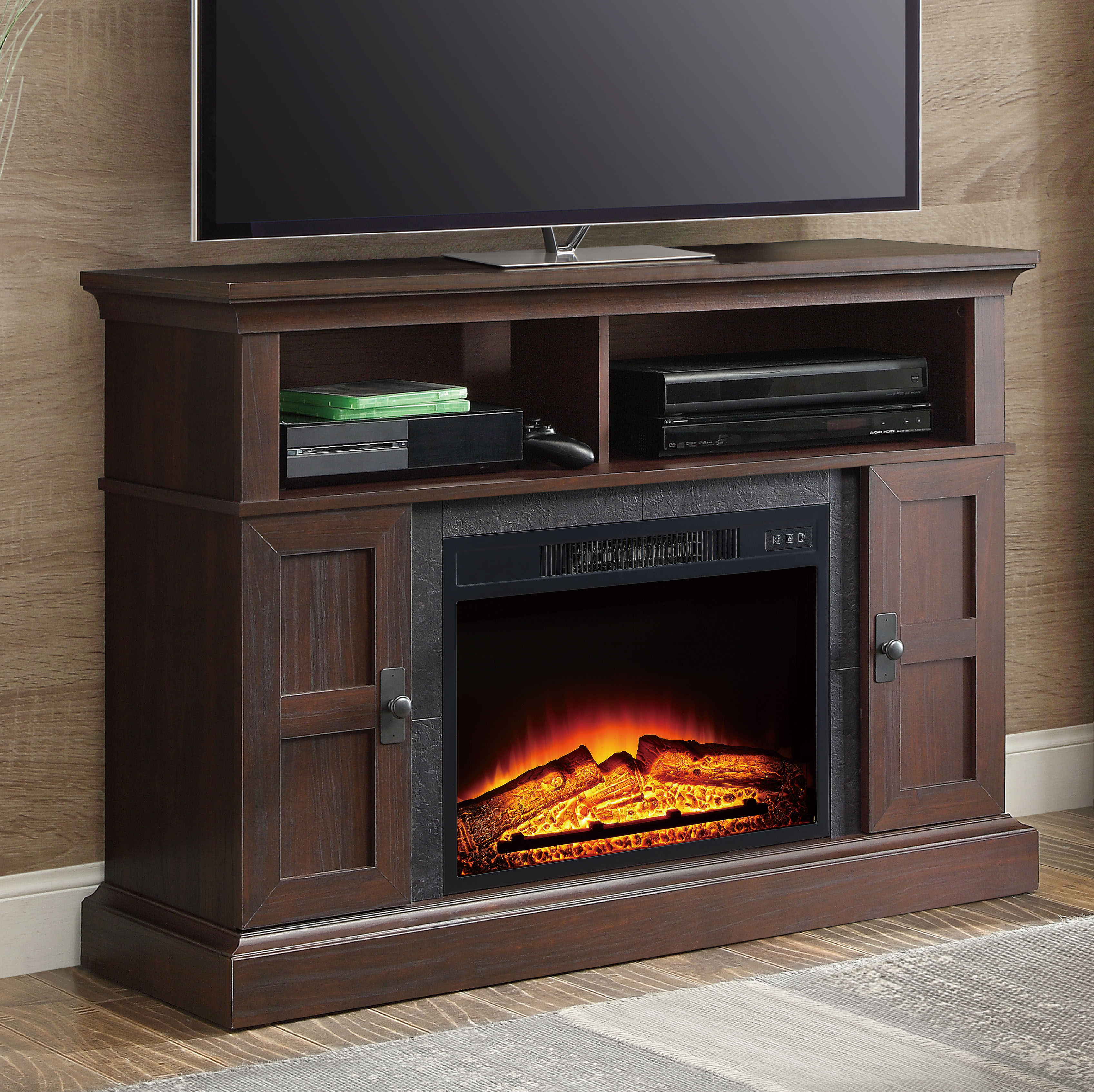 Whalen Media Fireplace Console For Tvs Up To 55 Dark