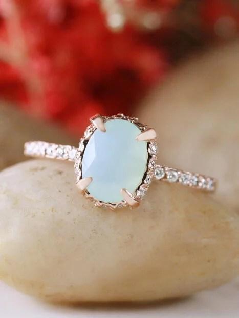 Oval Baby Blue Peruvian Opal 14 Karat Gold Engagement Ring
