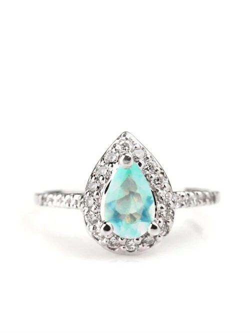 Peruvian Opal Diamond Solid 14KG Engagement Ring