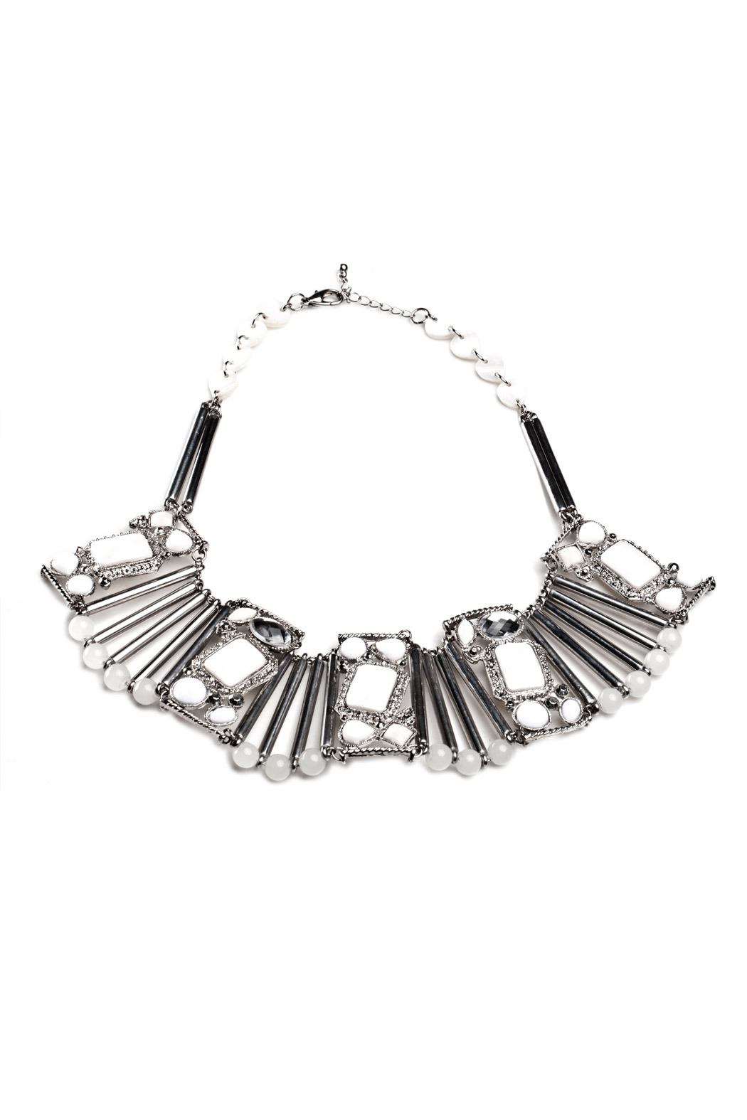 Mai Collection White Stone Bib Necklace From Beverly Hills