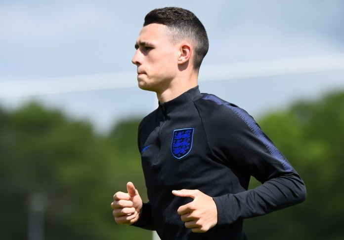 BURTON-UPON-TRENT, ENGLAND - MAY 27: Phil Foden in action during an England U21 Training Session at St Georges Park on May 27, 2019 in Burton-upon-Trent, England. (Photo by Nathan Stirk/Getty Images)