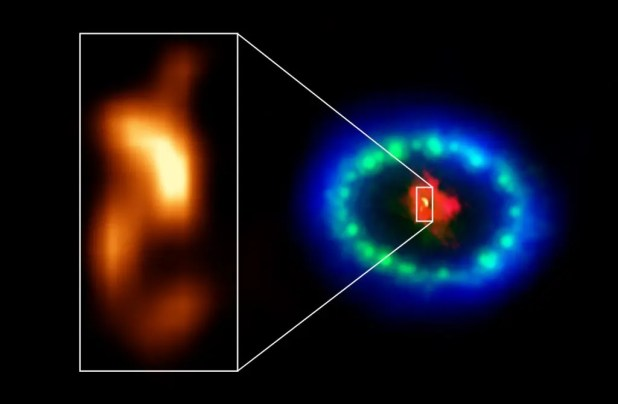 Hot in dusty core of Supernova 1987A