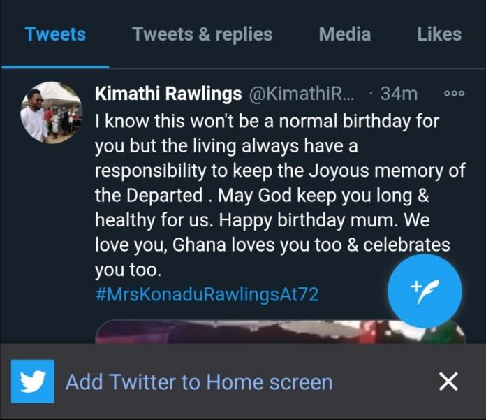 Rawlings' son, Kamathi sends an emotional birthday message to his widowed mother, Konadu@72