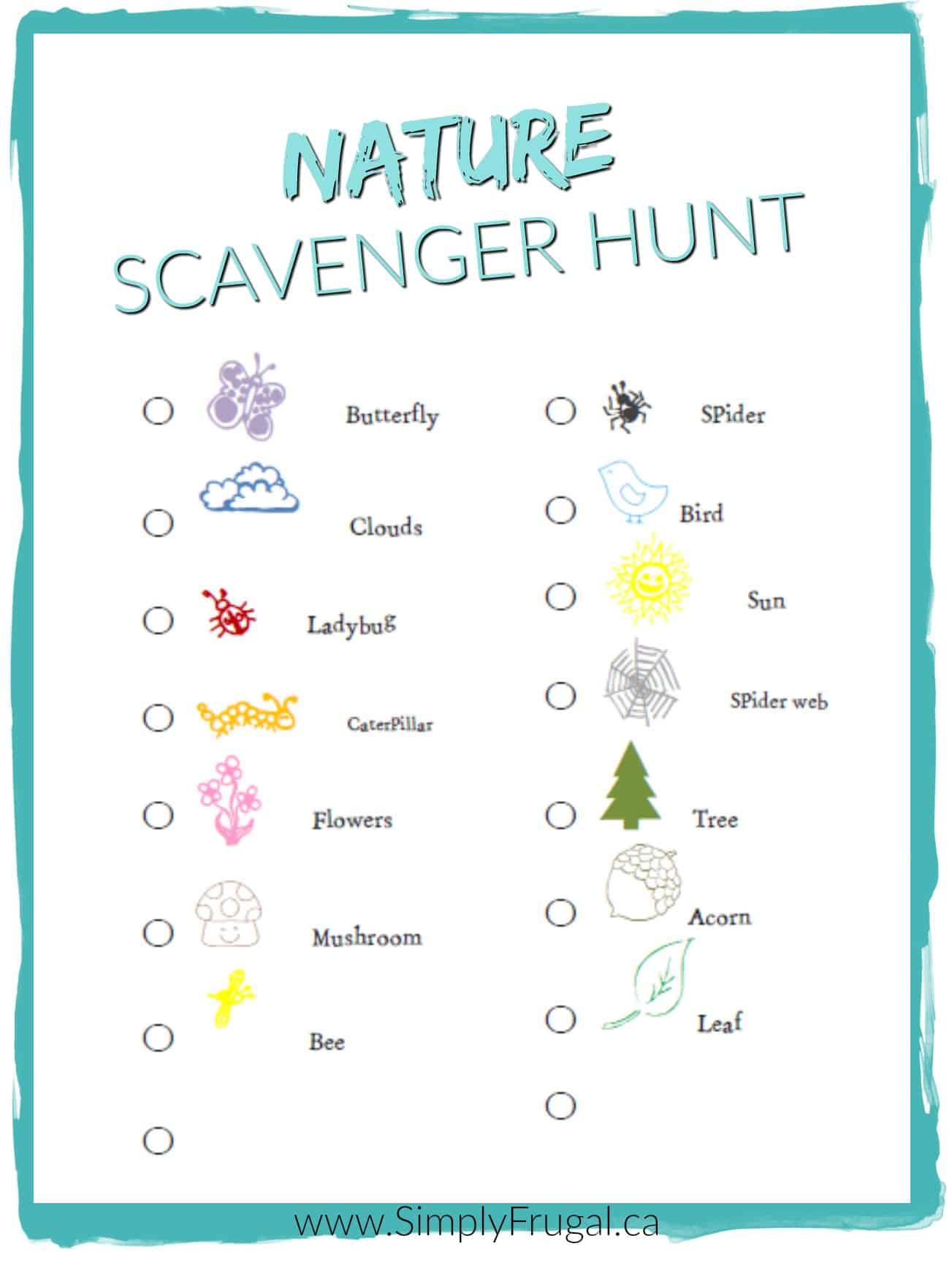 Free Nature Scavenger Hunt Printable