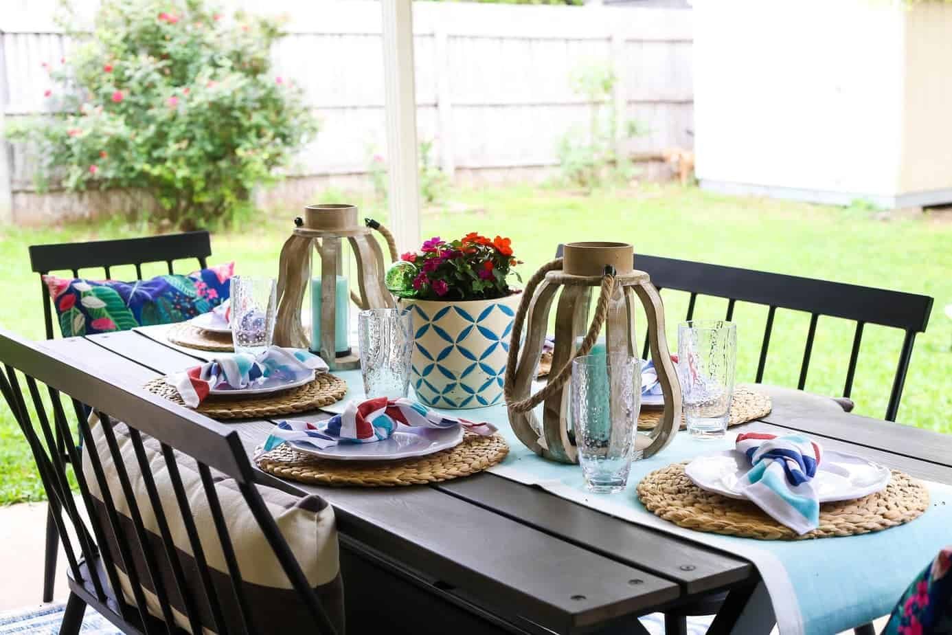 Patio Decorating Ideas + Outdoor Hosting Tips // Love ... on Backyard Table Decor id=50770