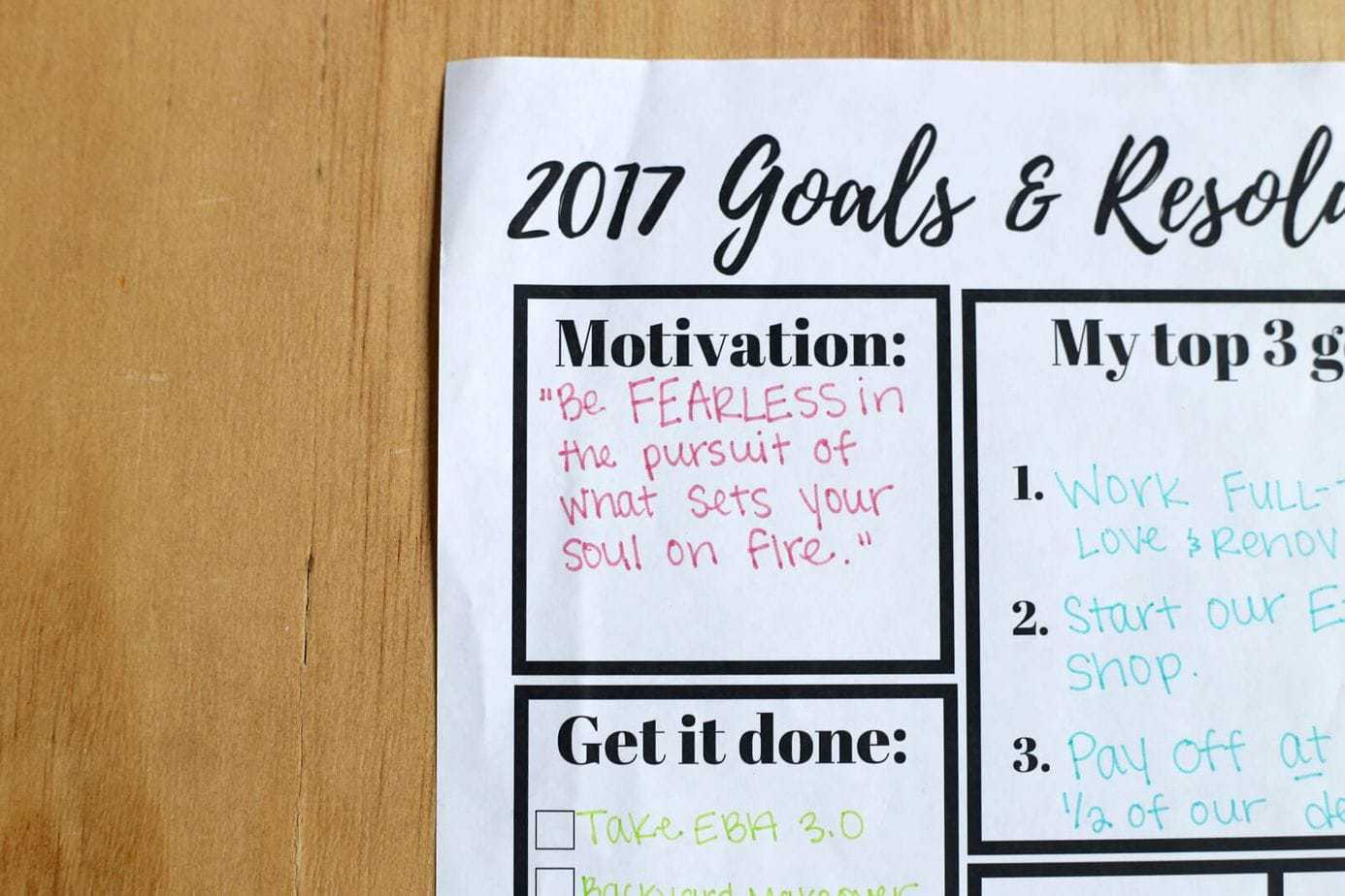 Goal Setting Printable Worksheet Love Amp Renovations