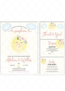 My Sunshine Baby Shower Invitation Card