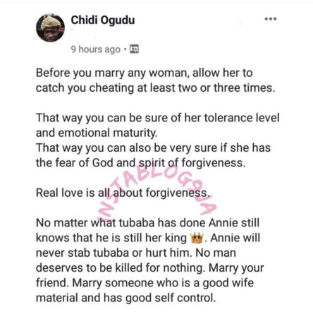 """Before You Marry Any Lady, Allow Her Catch You Cheating At Least Three Times"" - Barrister Ogudu"