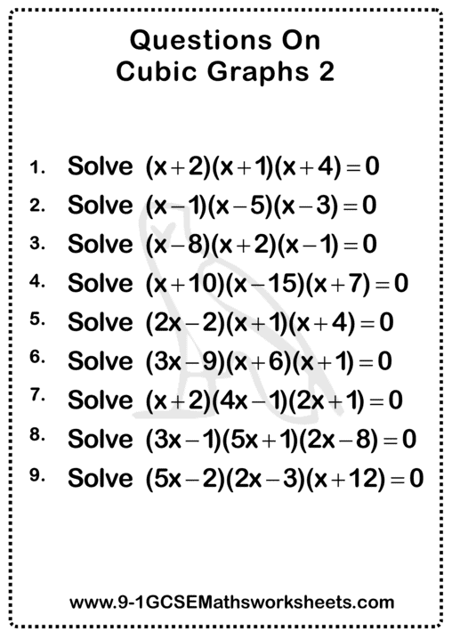 Cubic Graphs Worksheets