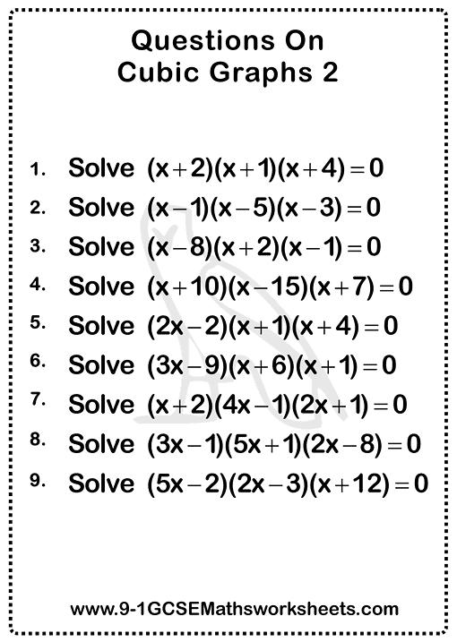 Cubic Graphs Worksheets