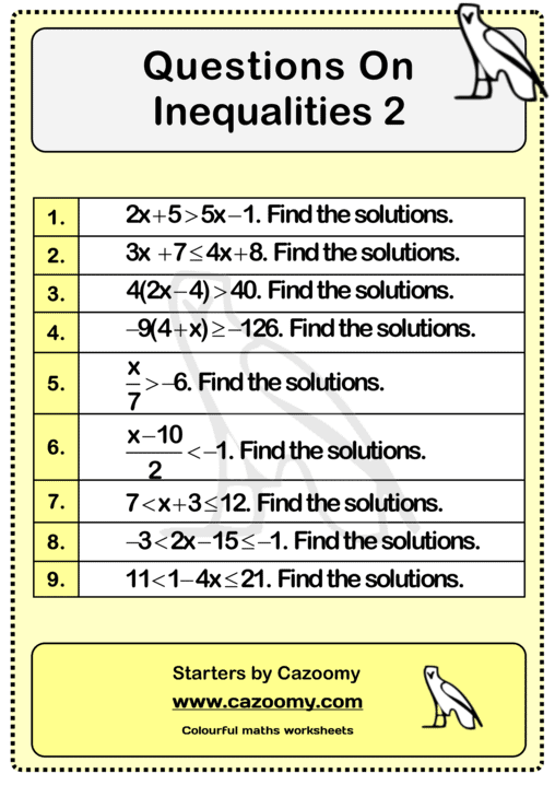 Solving Inequalities Worksheet Practice Questions