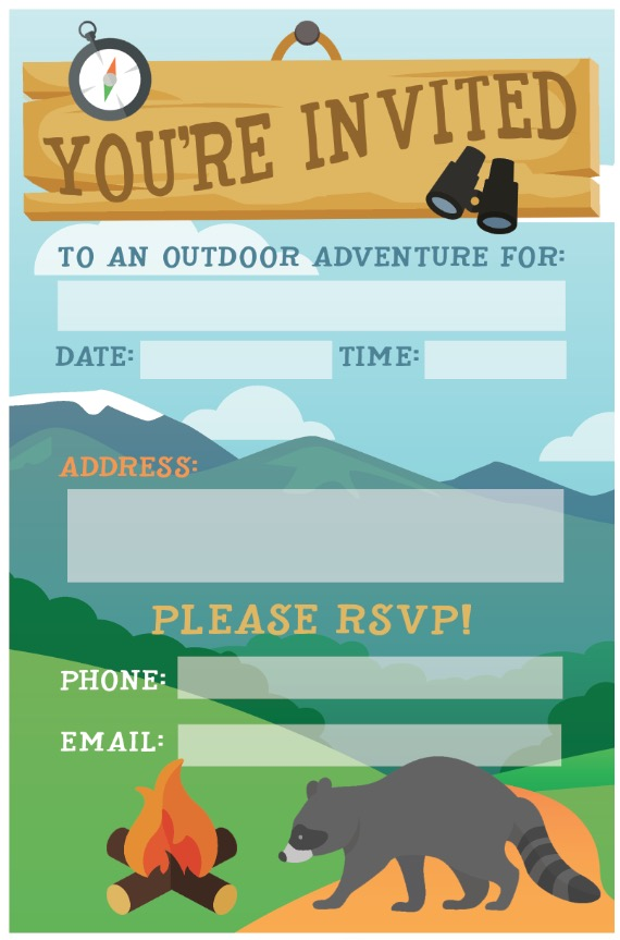 camping birthday party invite free