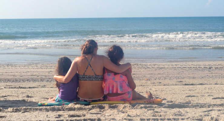 Family enjoying the beach at Myrtle Beach.